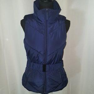 ZARA belted puffer zippered navy blue vest small